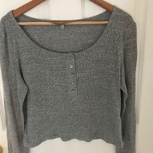 Charlotte Russe Long Sleeve Crop tee-Grey